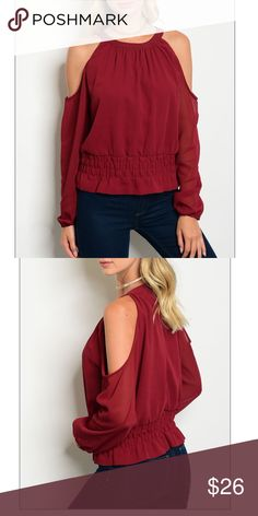 Burgundy off shoulder/strapped top, NWT Burgundy off shoulder/strapped top, NWT,Fabric Content: 100% POLYESTER. *****So cute! 🚧🚨*please note: this item MAY take 7-10 days to ship out Tops Blouses