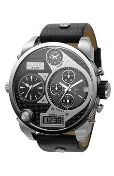 DIESEL Mr. Daddy Leather Strap Watch, 58mm | Nordstrom  Please follow us @ http://www.pinterest.com/jeniferkane01/