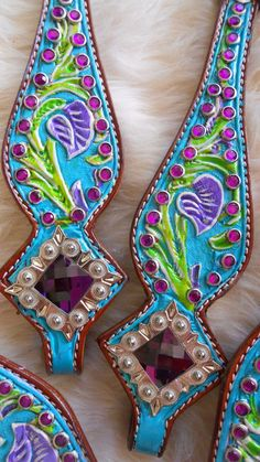 Turquoise Conchos For Tack | Painted Tack, Barrel Horse Tack, Custom Painted Tack