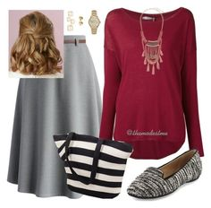 A fashion look from January 2016 featuring shirt top, grey a line skirt and round toe flat shoes. Browse and shop related looks. Cute Skirt Outfits, Dress Outfits, Work Outfits, Apostolic Clothing, Apostolic Fashion, Modest Dresses, Modest Outfits, Putting Outfits Together, My Outfit