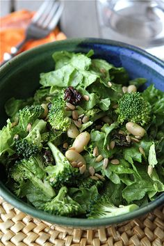 Salad with Broccoli, Dried Cherry, White Beans, Sunflower Seeds & Creamy Basil Dressing