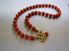 Beaded Natural Red Brown Coral Necklace by VeraidaGifts on Etsy, $32.00