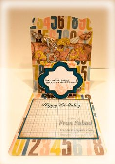 stampersblog: Pop a Million Supplies Stamp Sets - One in a Million, Bring on the Cake, Clockworks card stock - Soho Subway DSP, Island Indigo, Whisper White Ink - Island Indigo, Calypso Coral, Crumb Cake Etc - SU Pop N Cuts base, Timeless Type Big Shot Alphabet, Sizzix Funky Label insert and Framelit, 7/8 Scallop punch, fishing line #StampinUp #PopNCuts
