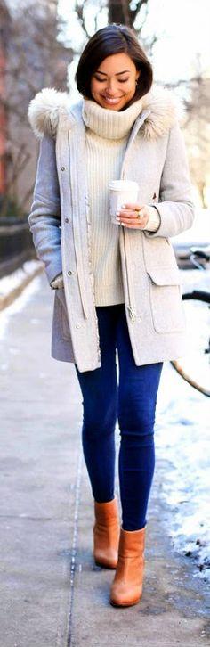 Grey coat with cream sweater, denim blue skinny jeans, rag bone newbury booties - With Love From Kat