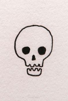 15 Easy Skull Drawing Ideas Easy Skull Drawings, Cute Drawings, Very Easy Drawing, Profile Drawing, Doodle Pages, Simple Acrylic Paintings, Easy Watercolor, Simple Art, Skull Art