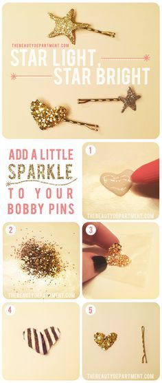 Add a little sparkle to your updo's with this DIY Glitter Bobby Pin tutorial!