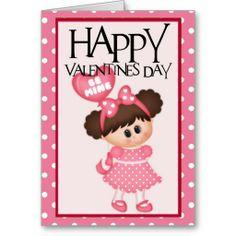 Be Mine Little Girl Happy Valentine Greeting Card