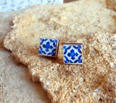 Portugal Blue Antique Azulejo Tile Replica Post Stud Earrings from Ovar (see photo of actual facade) 621 (13.00 USD) by Atrio