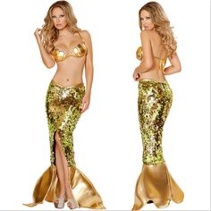 Sexy Golden Mermaid Costume for Women Adult Halloween Fancy Party Cosplay Dress - Mega Save Wholesale & Retail - 1