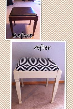 Another chevron bench furniture makeover. Chalk paint and chevron burlap.