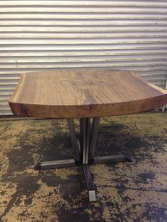 Black Walnut Live Edge Slab Table with Custom Made Steel Base
