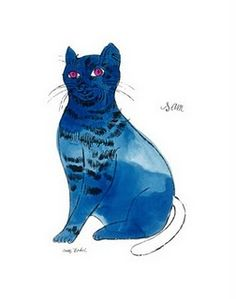 A blue cat by Andy Warhol from 25 cats name Sam....