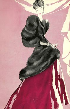 Vintage Fashion sketch in pink and black, love the colour combo.