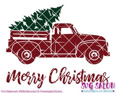 merry christmas red truck cut file in svg eps dxf jpeg and png