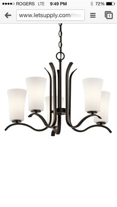 Kichler Armida Olde Bronze Transitional Etched Glass Chandelier at Lowe's. The Armida™ 5 light chandelier features a contemporary look with clean lines with its Olde Bronze® finish and satin etched white glass. Bronze Chandelier, 5 Light Chandelier, Chandelier Shades, Chandeliers, Light In, Light Shades, Soft Light, White Light, Bronze Finish