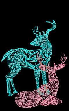antler, art, deer, illustration, reindeer