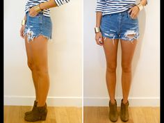 Now I know just what to do with my old jeans!   DIY distressed denim cut-offs