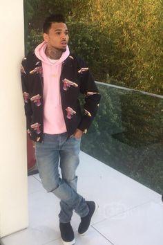 Chris Brown wearing Supreme Mendini Work Jacket, Ikon Fuck 12 Sweatshirt Hoodie