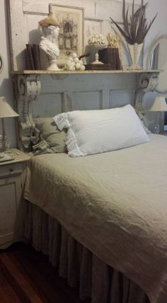 Love the idea of an upcycled mantel used as a headboard for shabby chic bedroom decor @istandarddesign