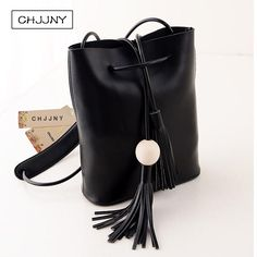 CHJJNY korean newest style vintage women genuine leather customized simple hand bags with tassel and wood ball #Affiliate