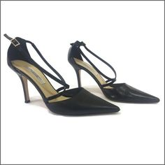 """Black Criss Cross Strap Pumps Neiman Marcus Criss Cross Strap Pumps.  Additional details:     Color: Black with silver hardware   Fabric: Leather    Size: 9B   Heel height: 3.5""""   Made in Italy   Condition: Pre-loved / minor wear at toe and soles - reflected in pics Neiman Marcus Shoes Heels"""