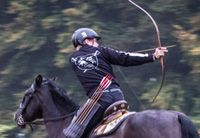 Mounted Archery competition at The Centre of Horseback Combat UK. Equestrian Martial Arts Club member