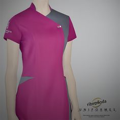 RMS-15059 Healthcare Uniforms, Medical Uniforms, Work Uniforms, Spa Uniform, Scrubs Uniform, Beauty Therapist Uniform, Denim Skater Dress, Stylish Scrubs, High Collar Blouse