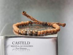 Bracelet Riverside Argent et bronze sur lien coulissant. Addict... #bracelethommecasteld #lifestyle #braceletlien http://www.casteld.com/bijoux-homme