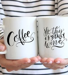 "The perfect vessel for your two favorite beverages—alcoholic or no, this ceramic mug can stay on your desk from early morning through happy hour. Printed with a cheeky handwritten calligraphy message, it reads ""Coffee"" on one side and ""jk, this is totally wine"" on the other. Drink up, we're not judging."