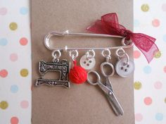 Seamstress Kilt Pin Brooch with Singer Charm by GallaghersBoutique, £9.99