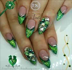 Luminous Nails: Glittery Green Acrylic and Gel Nails with Crystals
