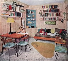"Decor 1957 Kids' Study The walls are cypress with a ""pottery white wash. - The walls are cypress with a ""pottery white wash. I think the chairs are Paul McCobb. Source: American Home Mid Century Decor, Mid Century House, Mid Century Style, Mid Century Furniture, Mid Century Design, Sala Vintage, Vintage Room, Vintage Decor, Vintage Kids"