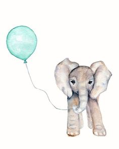 Elephant with Mint Balloon- 8 X 10 Watercolor print, Mint Nursery decor, Elephant nursery art, childrens wall decor