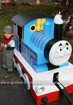 Homemade Thomas the Train Costume: Our son Thomas absolutely loves trains, so my husband decided to craft him a Homemade Thomas the Train Costume  made completely of recycled or left over