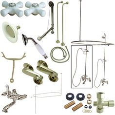 Kingston Brass Vintage Clawfoot Tub Wall Mount Package with Metal Cross Handles, Satin Nickel