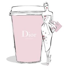 A gigantic Dior Expresso please. Stylish illustration by Megan Hess.