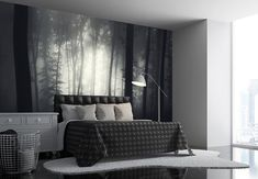 misty forest photo wallpaper, in black and white, inside a room decorated in different shades of gray, bed and lamp, cupboard and clothes basket, bedroom wall decor