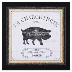 """Weathered wall decor with a French market-inspired motif.  Product: Wall decorConstruction Material: Wood and glassColor: Black frameFeatures:  Ready to hang Made in the USADimensions: 14"""" H x 14"""" W x 1.5"""" D"""
