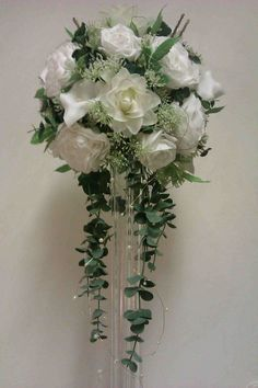 Tall Table Vase with a Pom Pom of Beautiful Soft White Foam & Silk Flowers & Gorgeous Green Foliages & Pearls 3 foot tall £50...available in smaller sizes too...
