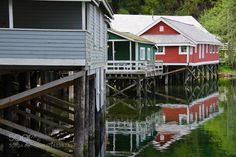 """Pile-dwellings in Telegraph Cove Go to http://iBoatCity.com and use code PINTEREST for free shipping on your first order! (Lower 48 USA Only). Sign up for our email newsletter to get your free guide: """"Boat Buyer's Guide for Beginners."""""""