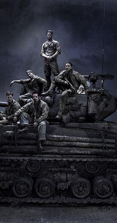 Brad Pitt, Shia LaBeouf, Logan Lerman, Michael Peña, and Jon Bernthal in Fury Movie Poster Art, Film Posters, Soldado Universal, Fury 2014, King Ragnar, Military Drawings, War Photography, World Of Tanks, Film Serie