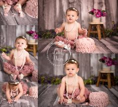 nj cake smash - vintage girl pearls , pink girls cake smash , pink and grey cake smash , mauve cake smash , tutu cake smash , lovely daze photography