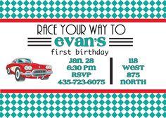 Vintage Car Birthday Party Invitation. $3.00, via Etsy.
