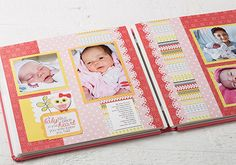 Baby Fills Your Heart Scrapbook Spread from Creative Memories, DETAILS AND INSTRUCTIONS: http://projectcenter.creativememories.com/photos/our_newest_project_ideas/baby-fills-your-heart-scrapbook-spread.html