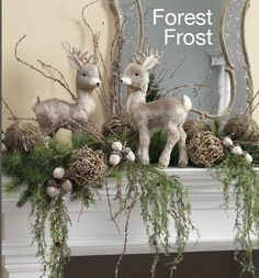 RAZ Champagne Glittered Leaf Ball is shown in this stunning mantle display. Very unusual glittered leafy ball which would look great with artificial or fresh greenery.
