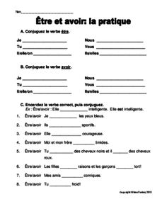 Etre et avoir worksheet from theideafactory on TeachersNotebook.com - (2 pages) - This is a simple review worksheet that can be used in either the Core, Extended (5-8) or Immersion classroom (4-6). Answer key is included.