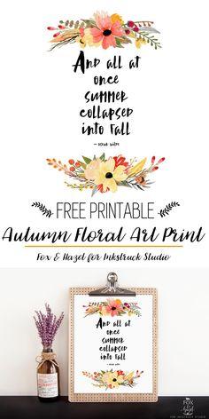 Free Fall Floral Art Print // Fox & Hazel