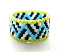 Cal y anillo con cuentas azul turquesa y por BrownIrisCreations