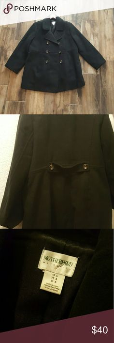 **DISCOUNT SHIP**Motherhood Maternity peacoat Black peacoat from Motherhood. Arm length has been professionally shortened to 23 in long to fit shorter since I'm 5'. Fits perfectly now, since most peacoats have longer arm lengths. Wrapped confortably on my growing belly (and i got huge). The buttons are brown. Worn very few times since we don't get many cold days in Texas. Motherhood Maternity Jackets & Coats Pea Coats