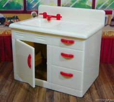 MINT! Renwal SINK CABINET Vintage Tin Dollhouse Furniture Ideal Miniature 1:16 #Renwal